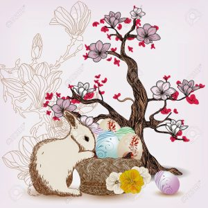 12495244-easter-illustration-with-rabbit-and-magnolia-tree-stock-vector-tree-cherry-landscape